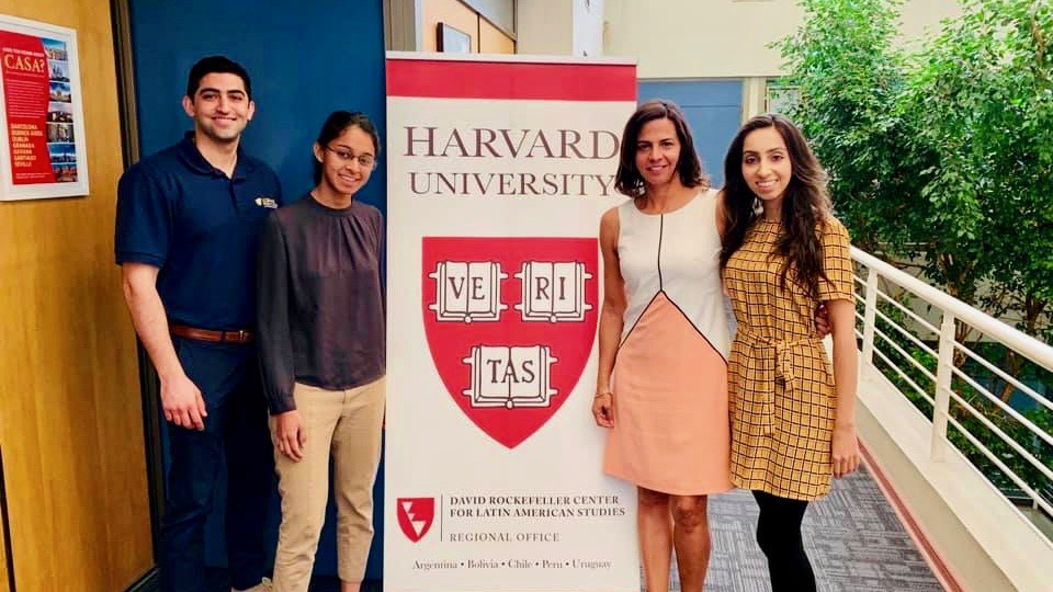L-R: UC Davis MBA students Bryan Dastmalchi, Ananta Sen, Marcela Renteria, and Marjan Malik at the Harvard DRCLAS Center, where the team met with the Harvard regional center to discuss partnership opportunities and to learn about the DRCLAS program.
